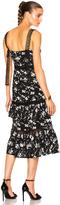 Prabal Gurung Floral Print Jacquard Tiered Ruffle Dress