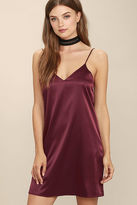 LuLu*s Perfect Illusion Burgundy Satin Slip Dress
