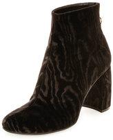 Stella McCartney Textured Velvet Block-Heel Boot, Black