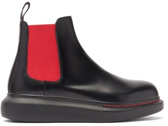 Alexander McQueen Hybrid Exaggerated-sole Leather Chelsea Boots - Black