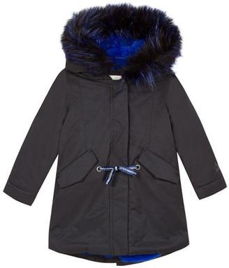 Catimini Black Coated Parka With Blue Fur
