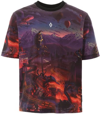 Marcelo Burlon County of Milan MULTICOLOR PRINTED T-SHIRT L Purple, Red, Black Cotton