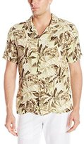 Caribbean Joe Men's Slim Fit Short Sleeve Button Up Leaf Pattern Rayon Hawaiian Shirt