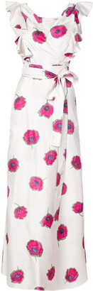La DoubleJ Floral Ruffled Midi Dress