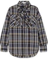 Brunello Cucinelli Cold-shoulder Embellished Checked Cotton-blend Shirt - Blue