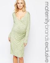 Mama Licious Mama.licious Mamalicious Wrap Front Marl Jersey Dress