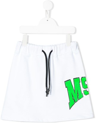 Msgm Kids Contrast Logo Sweat-Skirt
