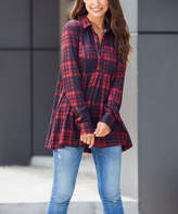 Luukse Women's Tunics 101RED/BLACK - Red & Black Plaid Relaxed-Fit Button-Front Tunic - Women & Plus