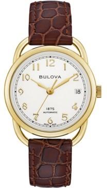 Bulova Limited Edition Women's Swiss Automatic Joseph Brown Leather Strap Watch 34.5mm