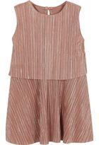 River Island Mini girls metallic pink pleated dress