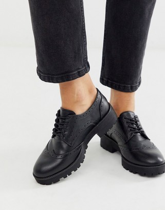 London Rebel chunky lace up brogues in black
