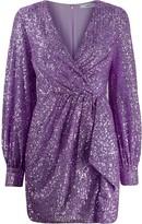 Amen sequinned wrap mini dress