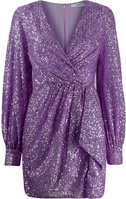 Amen Sequinned Wrap Mini Dress