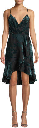 Amanda Uprichard Rose Velvet Flounce Wrap Cocktail Dress