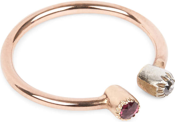 Annina Vogel 9ct gold and ruby stud ring