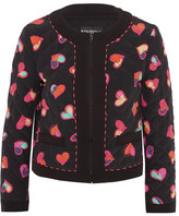 Moschino Quilted Printed Silk Crepe De Chine Bomber Jacket - Black