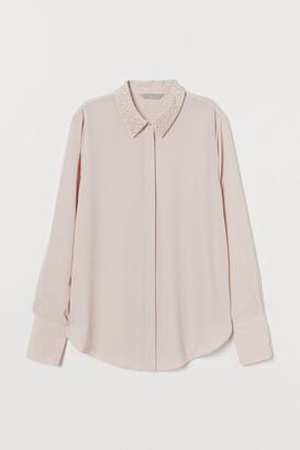 H&M Bead-embellished Blouse - Pink