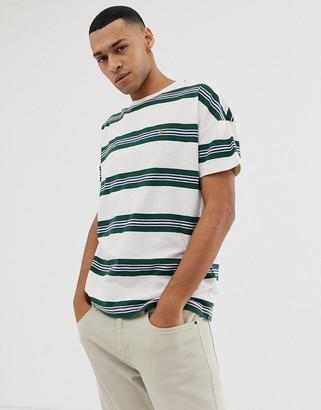 Farah Elkin over sized stripe t-shirt in white