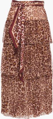 Zimmermann Tiered Leopard-print Silk-crepon Midi Skirt