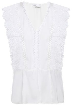 Sandro Darren Broderie Anglaise-paneled Cady Peplum Blouse
