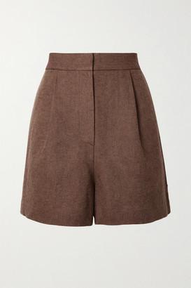 LVIR Pleated Linen And Cotton-blend Pique Shorts - Brown