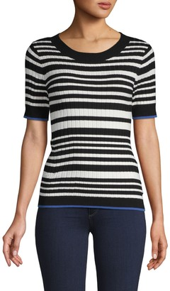 525 America Ribbed Striped Cotton-Blend Top