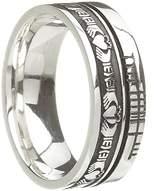 BORU Celtic Symbol Wedding Band Claddagh 14k White Size 11.5