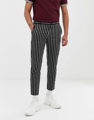 Bershka skinny trousers with stripes in black