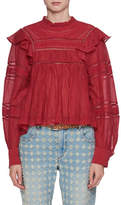 Etoile Isabel Marant Viviana Mock-Neck Long-Sleeve Cotton Blouse