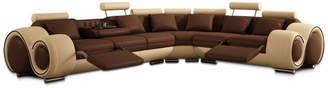 BEIGE Vig Furniture Divani Casa 4087 Modern Bonded Leather Sectional Sofa, Beige, Brown