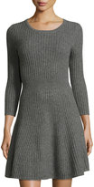 Neiman Marcus Cashmere Fit-and-Flare Sweater Dress, Gray
