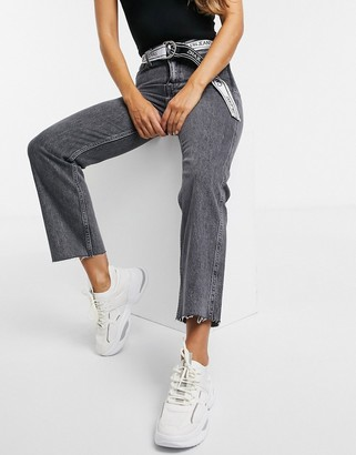 Calvin Klein Jeans high rise straight leg jeans in grey