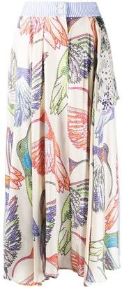 La Prestic Ouiston Hummingbird Print Silk Skirt