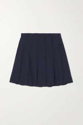 Alessandra Rich Pleated Wool-blend Crepe Mini Skirt