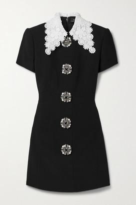 Andrew Gn Guipure Lace-trimmed Embellished Crepe Mini Dress - Black