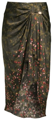 Mother of Pearl Emma Camo Floral Ruched Midi Skirt