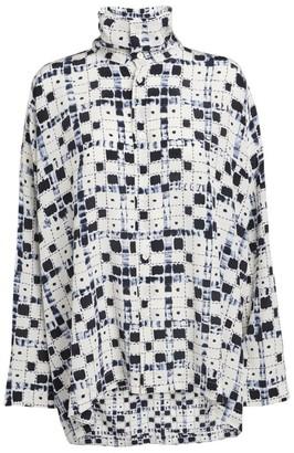 eskandar Silk Geometric Print Shirt