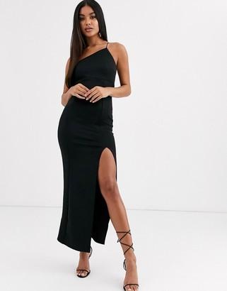Asos Design DESIGN asymmetric one shoulder maxi dress-Black