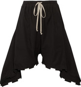 Rick Owens Ruffled coated cotton-blend canvas shorts