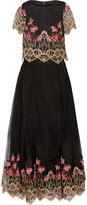 Marchesa Embroidered tulle top and maxi skirt set