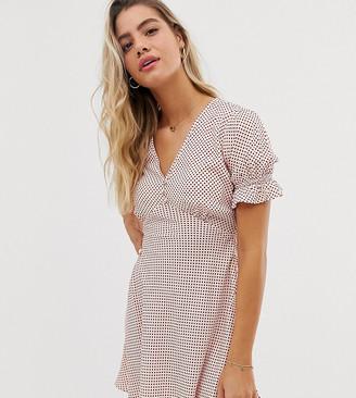 Wednesday's Girl mini tea dress with flutter sleeves in spot print
