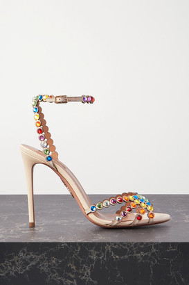 Aquazzura Tequila 105 Crystal-embellished Leather Sandals - White