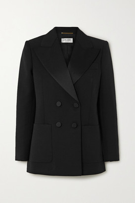 Saint Laurent Double-breasted Satin-trimmed Wool-twill Blazer - Black