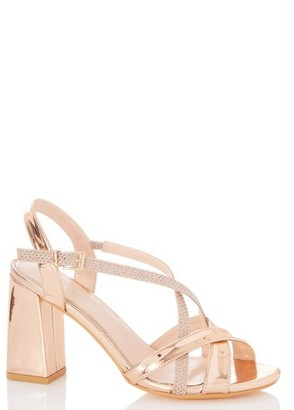 Dorothy Perkins Womens Quiz Rose Gold Flare Heeled Sandals, Rose Gold