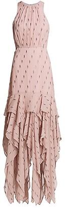 Halston Metallic Ruffle Gown