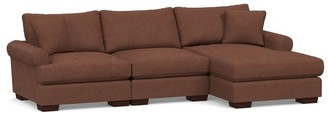 Pottery Barn Sullivan Deep Roll Arm Leather Chaise Sectional