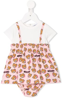 MOSCHINO BAMBINO logo bear print T-shirt dress