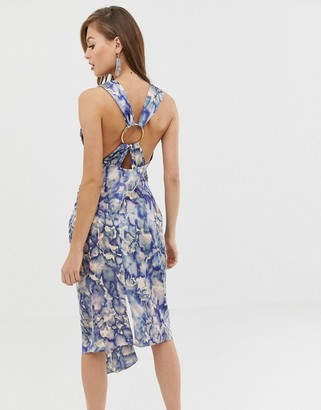 Asos Design DESIGN satin midi dress with ring detail in abstract print-Multi