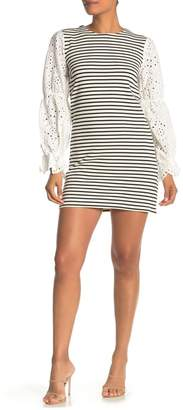 ENGLISH FACTORY Embroidered Sleeve Stripe Dress