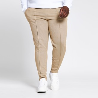 River Island Mens Big and Tall Beige check slim fit jogger
